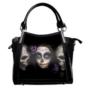 ANNE STOKES 3D Large Hand Bag Black PVC Goth Muerte Skull 'Day of The Dead'