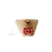 Flada Cross-body Bag with Cute Dog Straw Bag Should Bags for Daily Travel Holiday Beach Begie