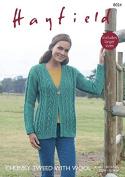 Hayfield Ladies Cardigan Tweed With Wool Knitting Pattern 8024 Chunky