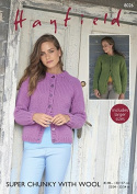 Hayfield Ladies Cardigans With Wool Knitting Pattern 8026 Super Chunky