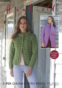 Hayfield Ladies Jackets With Wool Knitting Pattern 8025 Super Chunky