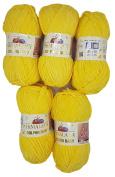 5 x 100 g Himalayan Dolphin Knitting Wool/Yarn Baby Wool 80313 Yellow 500 Gramme Super Bulky