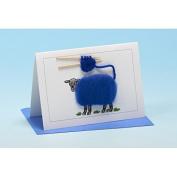 Vanessa Bee Knitting Greeting Card Blue