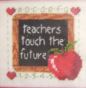 """Needlepoint Kit 13 x 13cm """"Teachers Touch The Future"""" - contains Persian wool & acrylic yarns, embroidery thread, design printed canvas, needle & easy instructions"""