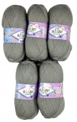 5 x 100g Knitting Wool Alize Bebe No. 594 500 Gramme Grey Wool Knit and Crochet