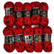 10 x 50 g Knitting Wool Black # 81204 500 g Red Knitting Wool Two Tone