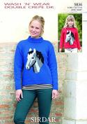 Sirdar Ladies & Girls Picture Sweaters Knitting Pattern 9836 DK