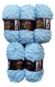 5 x Loop Wool Blue 44/04 Light Blue Knit and Crochet 500 Gramme Loop Wool 100 Super Bulky 6