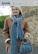 Wendy Ladies Scarf & Bag Pampas Knitting Pattern 5185 Super Chunky