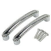 Refaxi 2pcs Rhinestone Silver Alloy Knobs Cabinet Drawer Cupboard Door Bar Pull Handles
