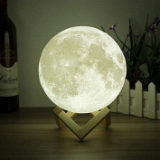 Moon Light - 3D Printing Moon - Stepless Dimmable - Moon Lamp Shade - Warm and White Touch Control Brightness with USB Charging - Moon Decor - Lunar Night Light with Wooden Mount - Moon Gifts 15cm
