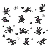 Dragon Honour Cartoon Lovely Bunny Wall Sticker Black Cute Rabbit Mural Nursery Home Wall Decals