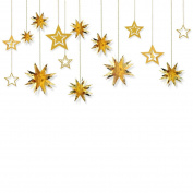 Glitter Twinkle Star Hanging Garland - Sparkly Paper Five-pointed Bunting Banner for Birthday Party, Baby Shower, Wedding, Festival Home Decoration, Gold, 13 pcs