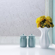 Coavas Non-Adhesive Frosted Flower Glass Film For Meeting Rome/ Mall Glass Wall /Glass Door/kitchen/Bath room/Sitting Room/Bedroom/Privacy Window,Avoid Glass Burst