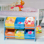Costway Wooden Toy Storage Rack 6 Bins Unit Organiser Shelf Playroom Home Nursery Kids Children