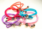 5 Hair Rubber Hair Band with Bow, Various Colours