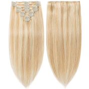 Remy Hair Extensions Ash Blonde & Bleach Blonde Highlighted Clip in Remy Human Hair - 50cm 105gram #18 & 613 - Full Head for Women Beauty