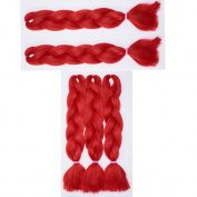 5 Pcs /500g 60cm Two Ombre Braiding Hair Synthetic Braid Hair Extensions Red