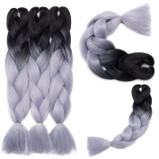 5 Pcs /500g 60cm Two Ombre Braiding Hair Synthetic Braid Hair Extensions Black+Silver Grey