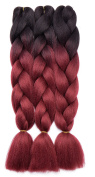 3 Pcs /300g 60cm Two Ombre Braiding Hair Synthetic Braid Hair Extensions Dark Black to Dark Red