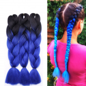 3 Pcs /300g 60cm Two Ombre Braiding Hair Synthetic Braid Hair Extensions Dark Black to Dark Blue
