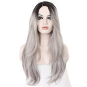 WYXlink Women Fashion Long Natural Straight Silver Grey Wigs (Lenght