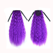 WYXlink Gradient Colour Ribbon Thick Wavy Curly Long Ponytail Horsetail Clip Hair Extensions