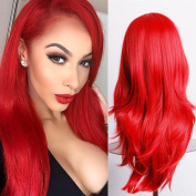 Wigs for Women Cosplay Long Wavy Synthetic Hair Anime Costume Red Wig Party Natural 60cm