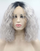 Musegetes New Arrival Ombre Grey 2 Tones Bob Synthetic Lace Front Wig Dark Roots Kinky Curly Grey Wig for Women HS0032
