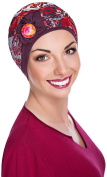 NJ création Turban Kenaya Button Floral Red/Plum