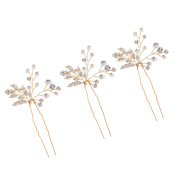 Sharplace Ladies Gold Alloy Crystals Vine Hair Pins Wedding Party Hair Accessories