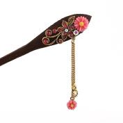 Womens Vintage Wooden Hair Stick Hair Pin Flower Rhinestone Bridal Hair Styling Accessory