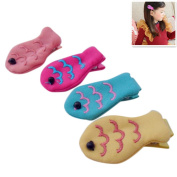 BIGBOBA 4PCS Lovely Fish Shape Cloth Hair Clip Claw Clamps Tied Hair Hairpin Hair Styling Accessories Hair Decoration For kids baby Girls