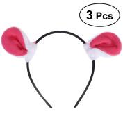 LUOEM 3pcs Bunny Ear Headband Fluffy Novelty Rabbit Ears Hair Hoop Headpiece Funny Hair Accessory for Kids Girls Adults Fancy Party Costume Dress Up