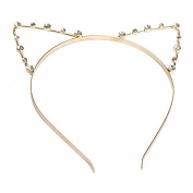 1xToruiwa Hair Hoop Clips Clasps Lovely Cat Ear Metal Hairband Headband Headwear Decorated with Artificial Pearls Hair Accessories for Women Ladies Girls Gold Colour