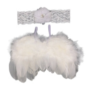Originaltree Infant Baby Flower Lace Headband Feather Angel Wing Photograph with Hair Band