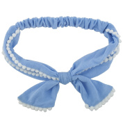 Lux Accessories Blue and White Bow Baby Girl Infant Hair Accessories Headband