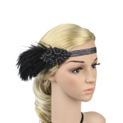 WFZ17 Women Hair Accessory Gypsy Chic Feather Sequins Elastic Hair Band Headpiece.