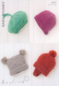 Hayfield Baby & Childrens Hats Knitting Pattern 4597 Chunky