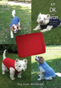 King Cole Pet Dog Coats & Blanket Knitting Pattern K9 DK, Aran