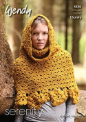 Wendy Ladies Wrap with Hood Serenity Crochet Pattern 5836 Chunky