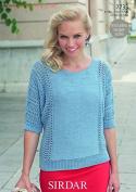 Sirdar Ladies Top Cotton Knitting Pattern 7733 DK