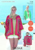 Sirdar Ladies Cardigans Cotton Crochet Pattern 7739 DK