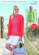 Sirdar Ladies Sweater & Top Cotton Rich Knitting Pattern 7751 Aran