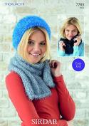 Sirdar Ladies Hat, Scarf & Snood Touch Fur Knitting Pattern 7783