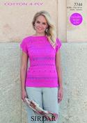 Sirdar Ladies Top Cotton Knitting Pattern 7744 4 Ply