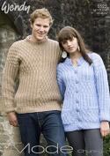 Wendy Mens & Ladies Sweater & Cardigan Mode Knitting Pattern 5522 Chunky