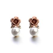 Sterling Silver Stud Earrings, KEERADS Fashion Women's 925 Sterling Crystal Rose Pearl Rhinestone Earrings