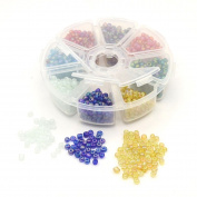 Bead Mix with Pearls in Round Plastic Box 4 mm Metalic Shine