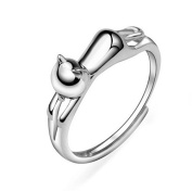 Wicemoon Glossy Cat Shape Opening Ring Women Jewellery